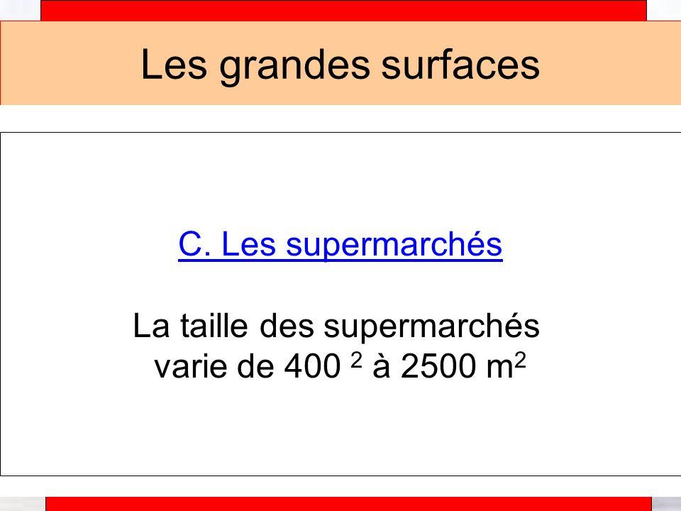 La taille des supermarchés