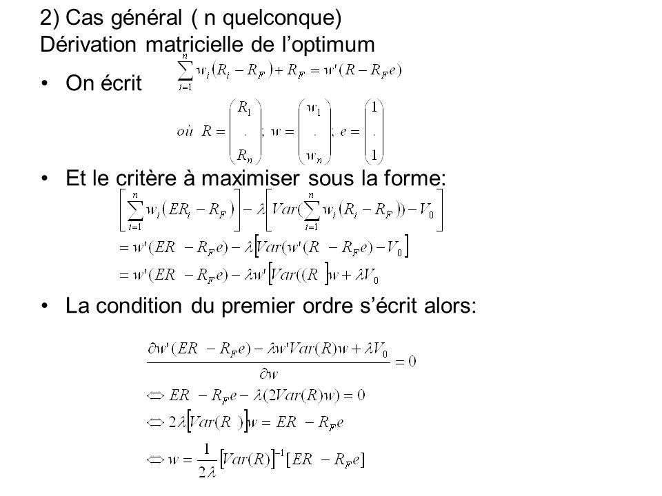 2) Cas général ( n quelconque) Dérivation matricielle de l'optimum
