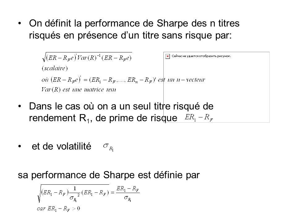 On définit la performance de Sharpe des n titres risqués en présence d'un titre sans risque par: