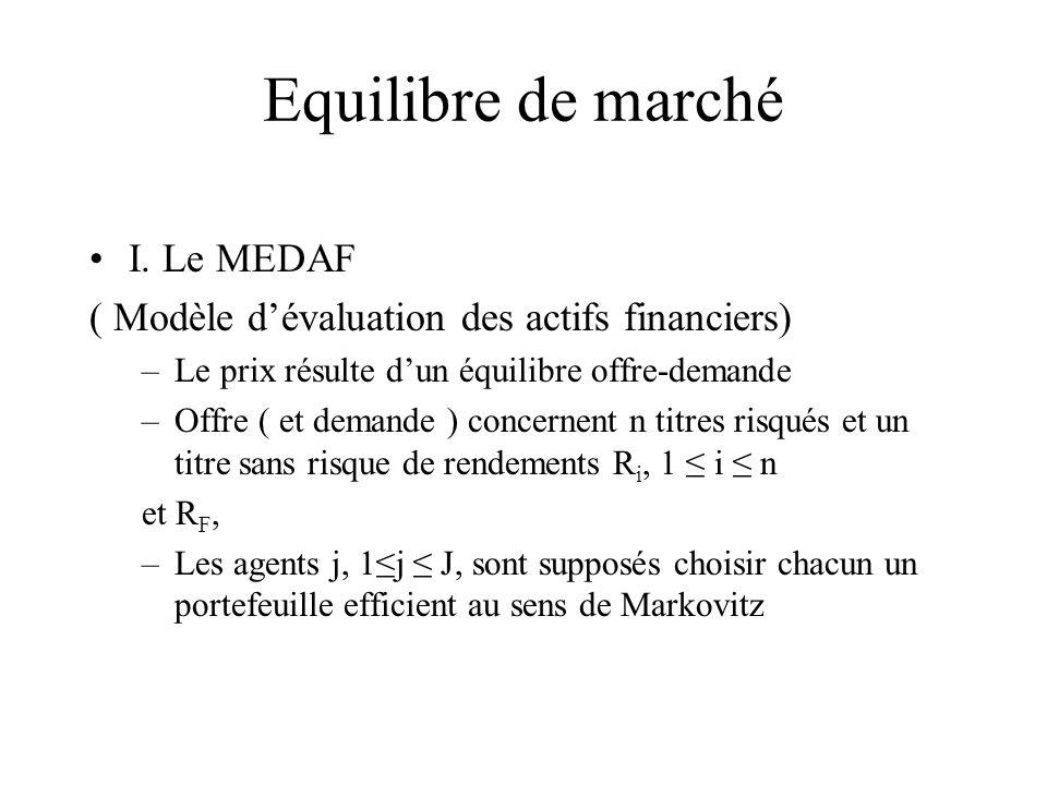 Equilibre de marché I. Le MEDAF