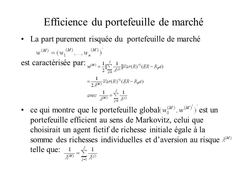 Efficience du portefeuille de marché