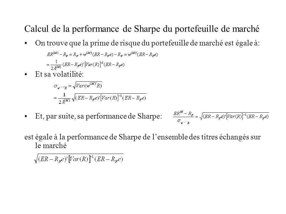 Calcul de la performance de Sharpe du portefeuille de marché