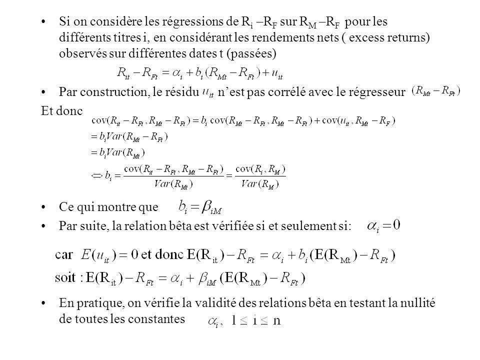Si on considère les régressions de Ri –RF sur RM –RF pour les différents titres i, en considérant les rendements nets ( excess returns) observés sur différentes dates t (passées)