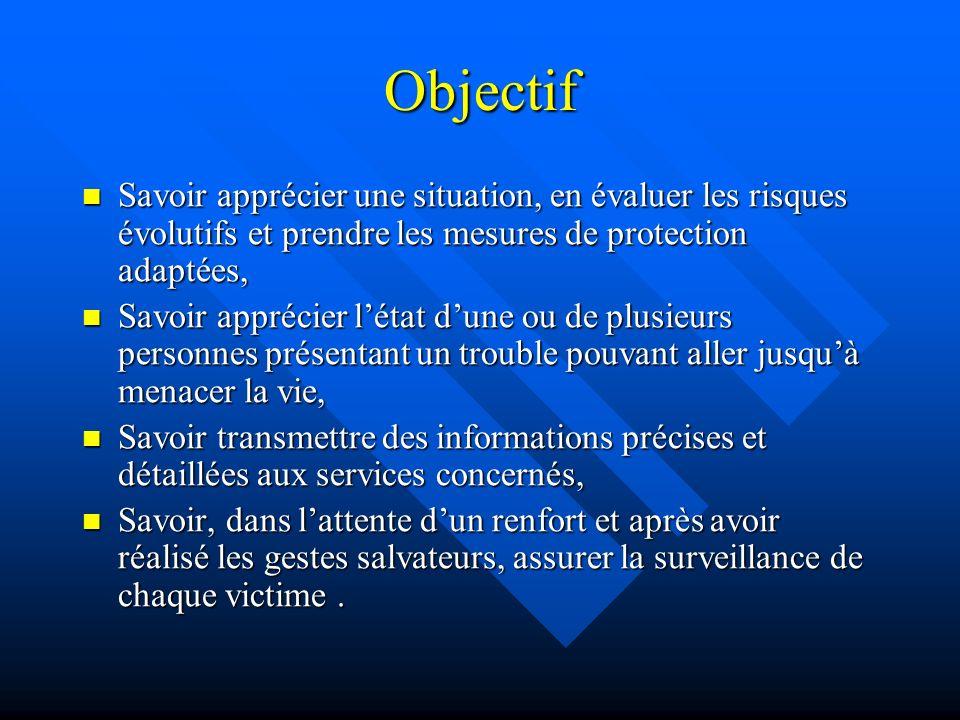 Objectif Savoir apprécier une situation, en évaluer les risques évolutifs et prendre les mesures de protection adaptées,