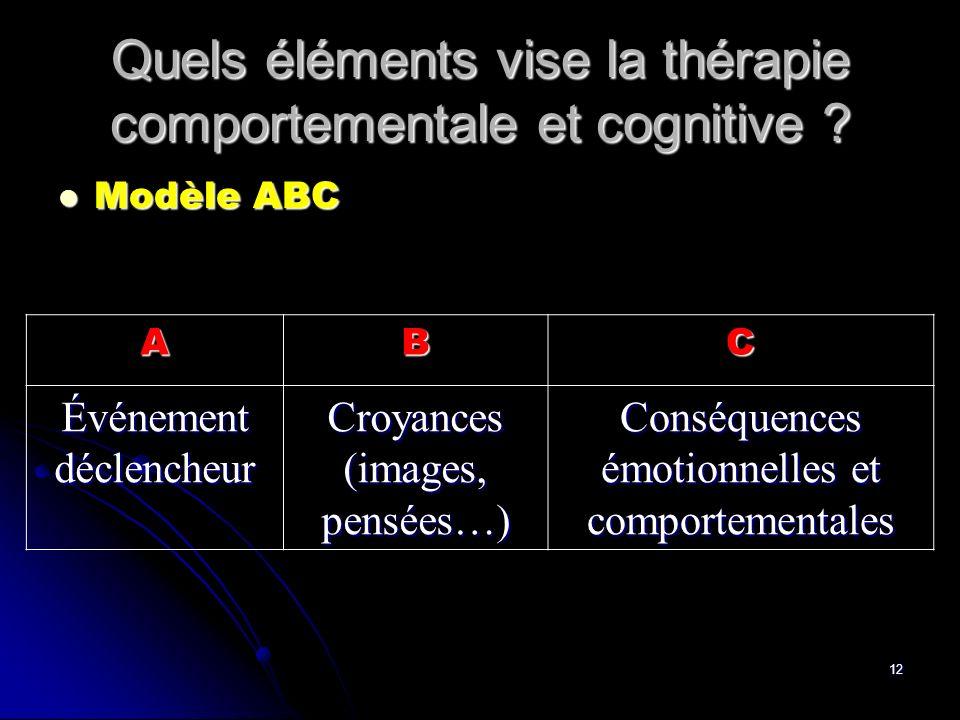 Quels éléments vise la thérapie comportementale et cognitive