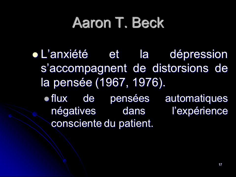 Aaron T. Beck L'anxiété et la dépression s'accompagnent de distorsions de la pensée (1967, 1976).