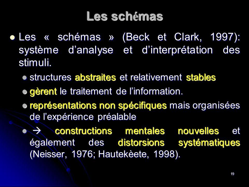Les schémas Les « schémas » (Beck et Clark, 1997): système d'analyse et d'interprétation des stimuli.
