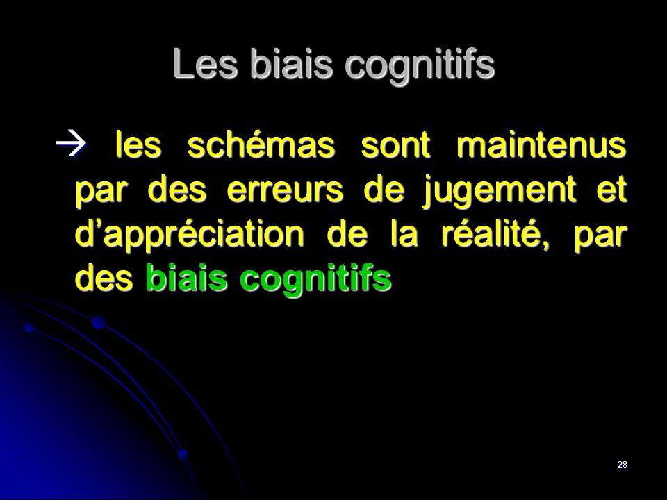 Les biais cognitifs  les schémas sont maintenus par des erreurs de jugement et d'appréciation de la réalité, par des biais cognitifs.