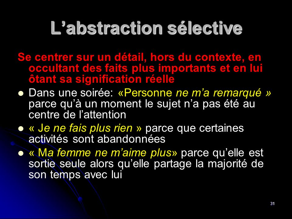 L'abstraction sélective