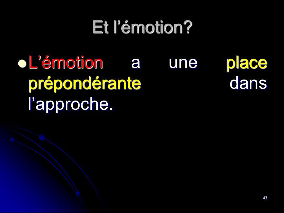 Et l'émotion L'émotion a une place prépondérante dans l'approche.