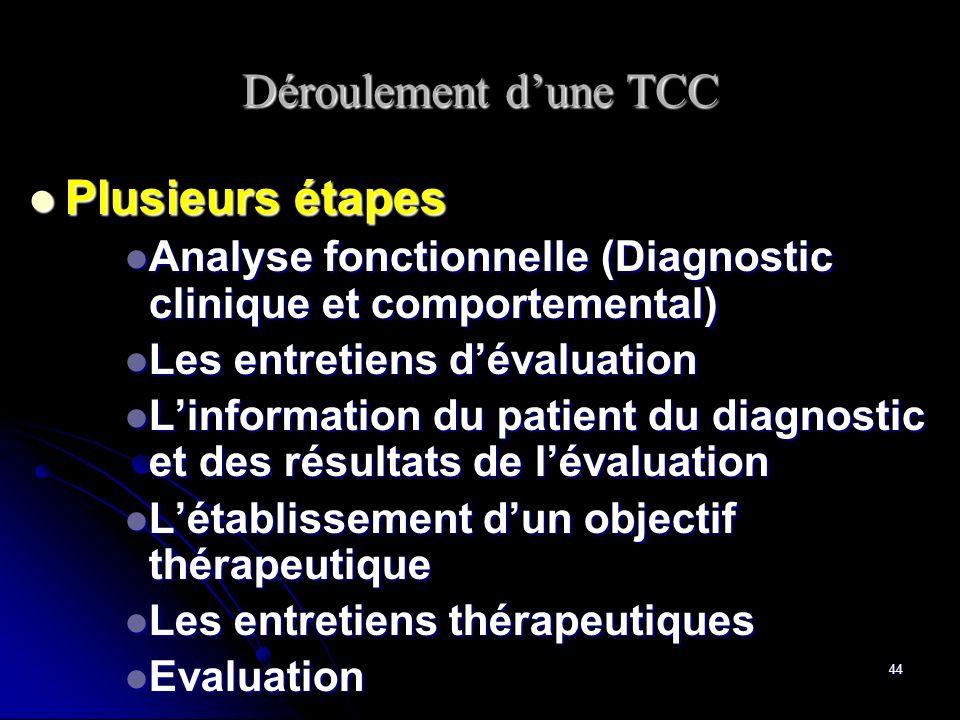 Déroulement d'une TCC Plusieurs étapes