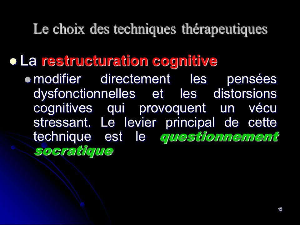 Le choix des techniques thérapeutiques