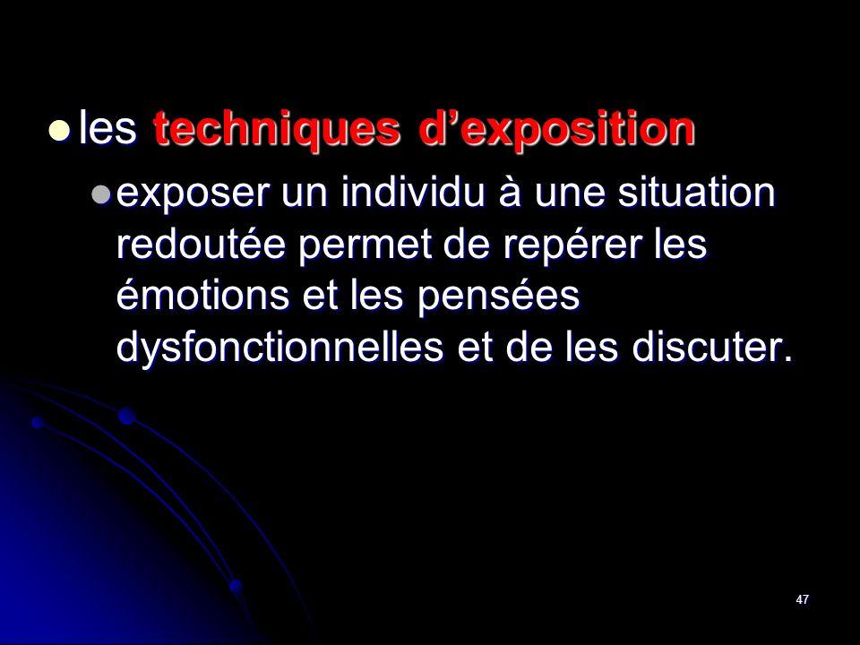 les techniques d'exposition