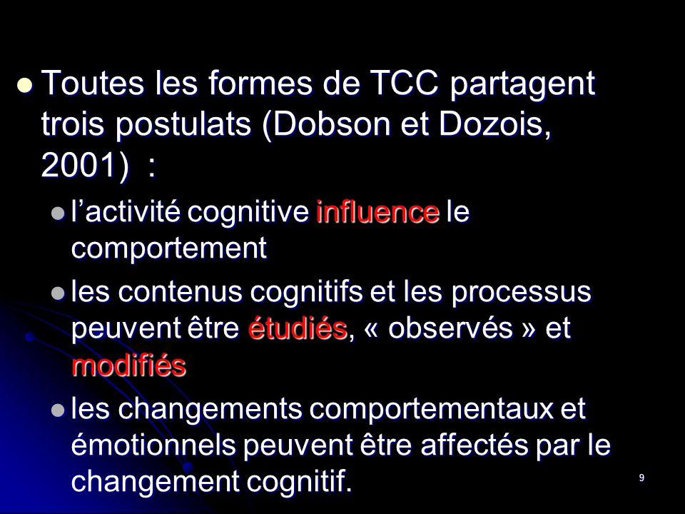 Toutes les formes de TCC partagent trois postulats (Dobson et Dozois, 2001) :