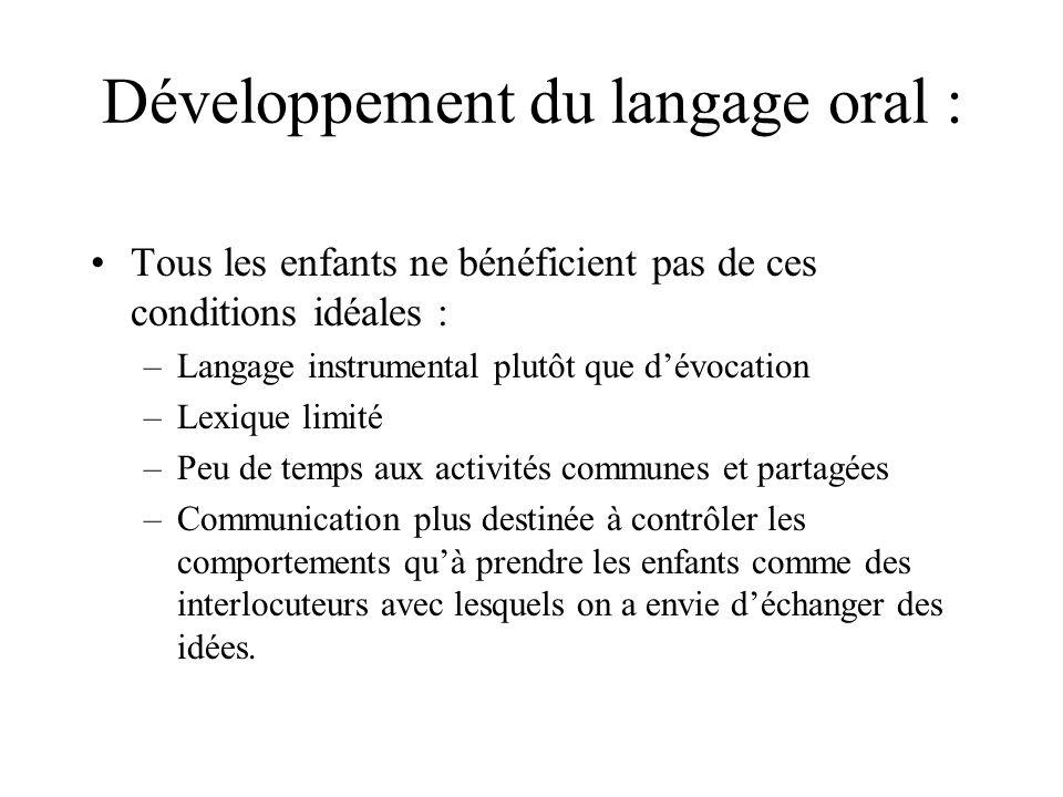 Développement du langage oral :