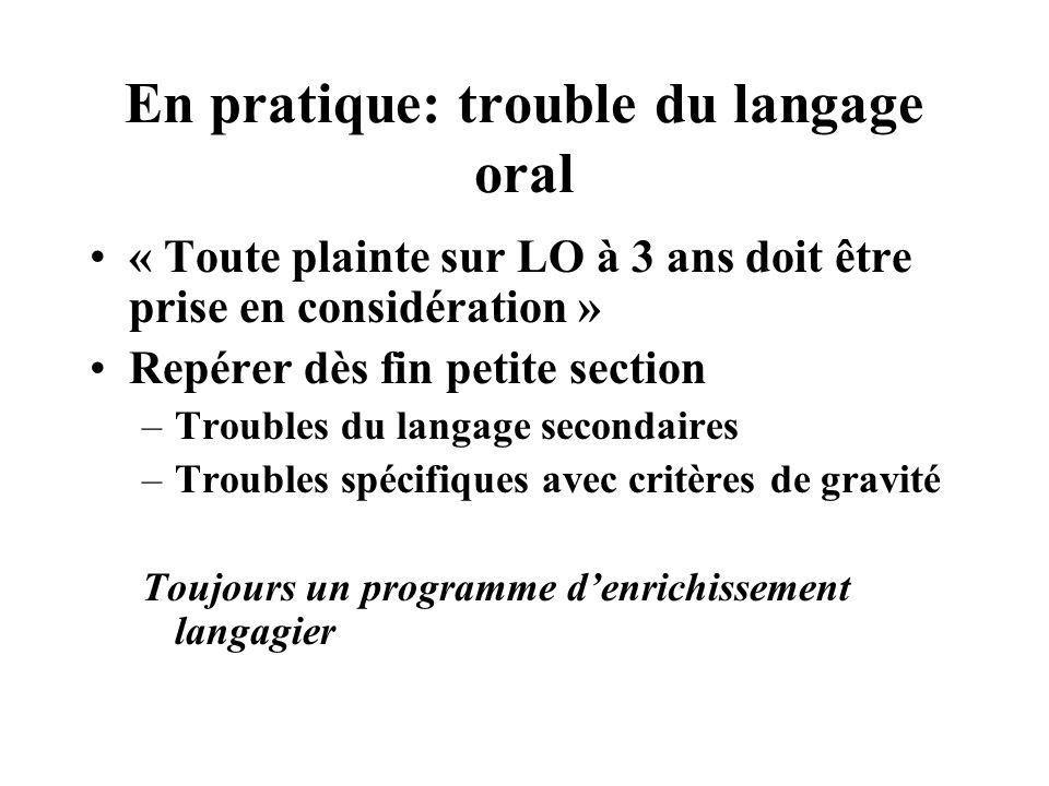 En pratique: trouble du langage oral
