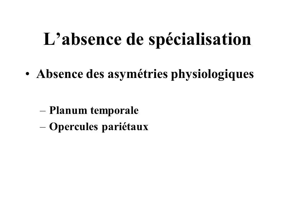L'absence de spécialisation