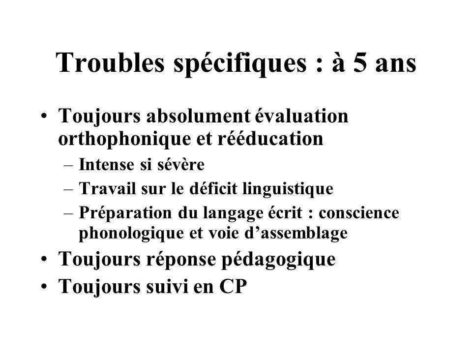 Troubles spécifiques : à 5 ans