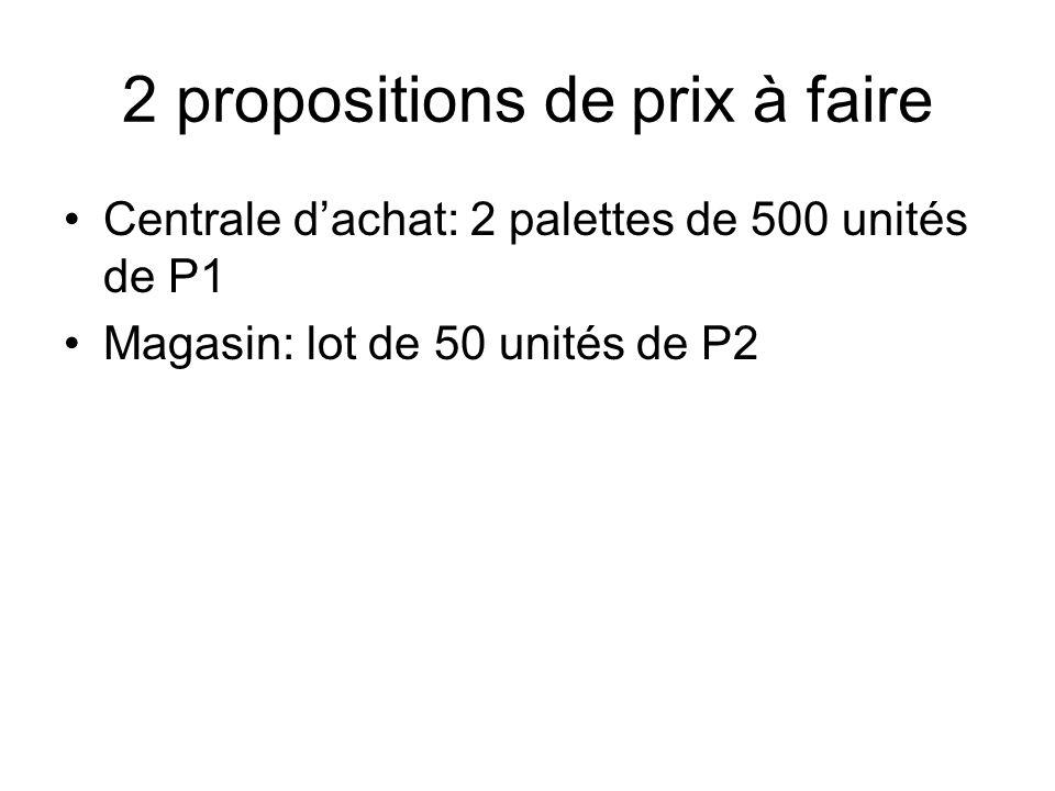 2 propositions de prix à faire