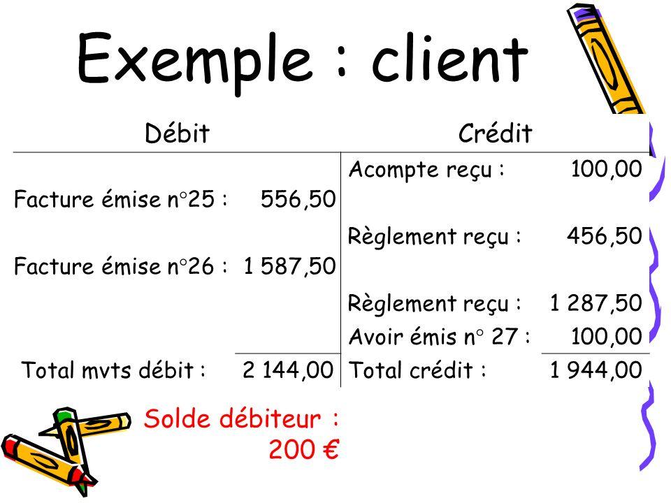 Exemple : client Débit Crédit Solde débiteur : 200 € Acompte reçu :