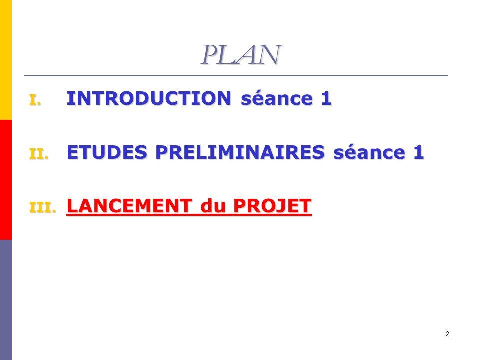 PLAN INTRODUCTION séance 1 ETUDES PRELIMINAIRES séance 1
