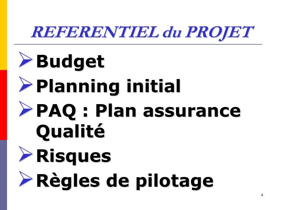 REFERENTIEL du PROJET Budget. Planning initial. PAQ : Plan assurance Qualité.