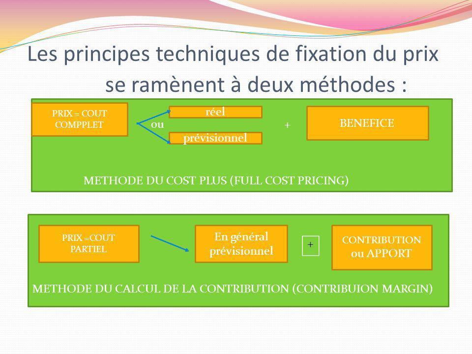 Les principes techniques de fixation du prix se ramènent à deux méthodes :
