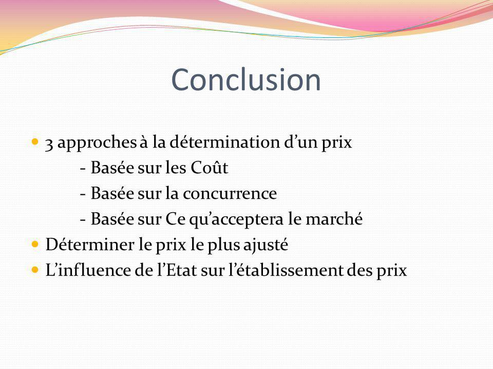 Conclusion 3 approches à la détermination d'un prix