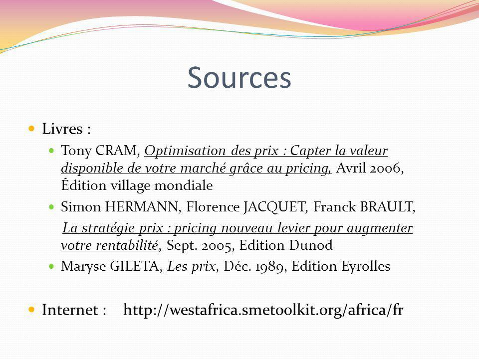 Sources Livres : Internet : http://westafrica.smetoolkit.org/africa/fr