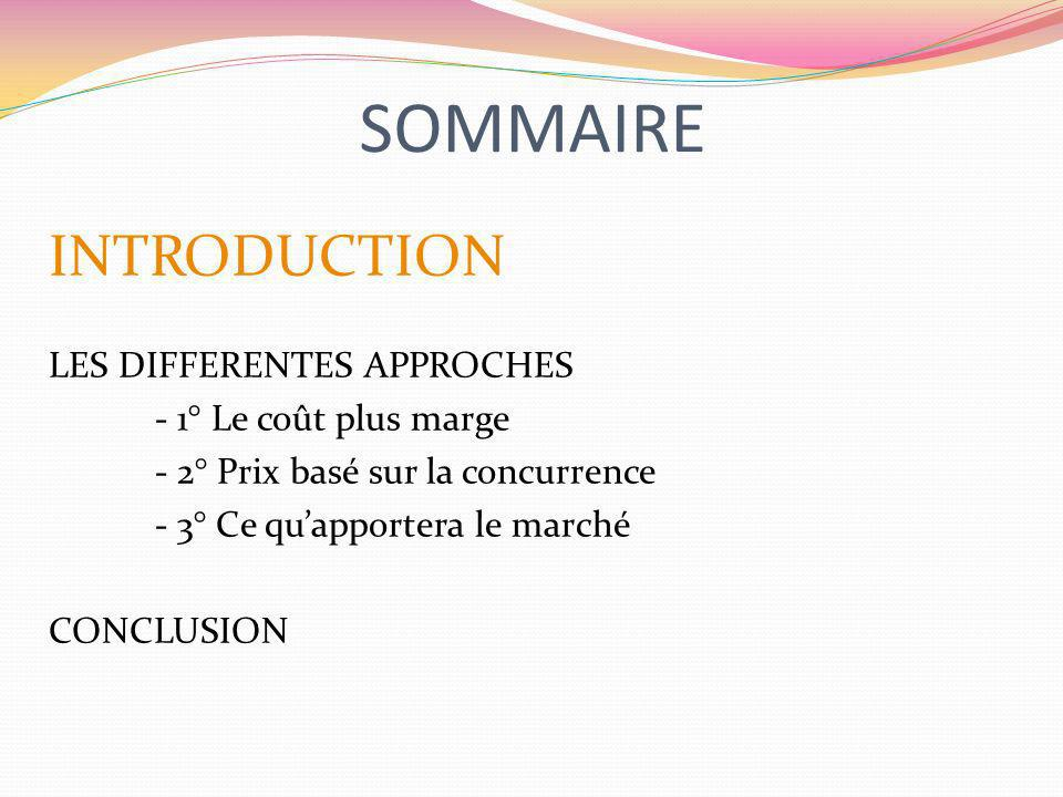 SOMMAIRE INTRODUCTION LES DIFFERENTES APPROCHES