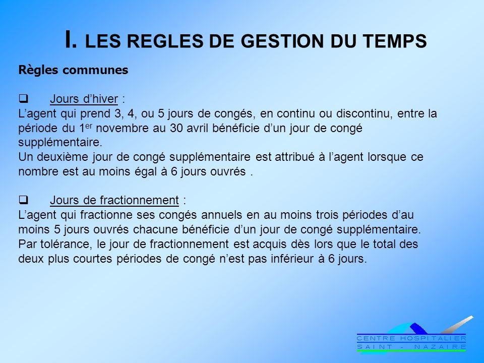 I. LES REGLES DE GESTION DU TEMPS