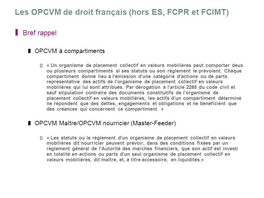 Les OPCVM de droit français (hors ES, FCPR et FCIMT)