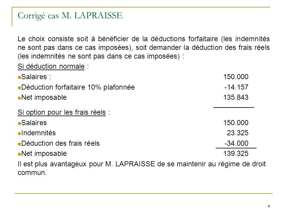 Corrigé cas M. LAPRAISSE