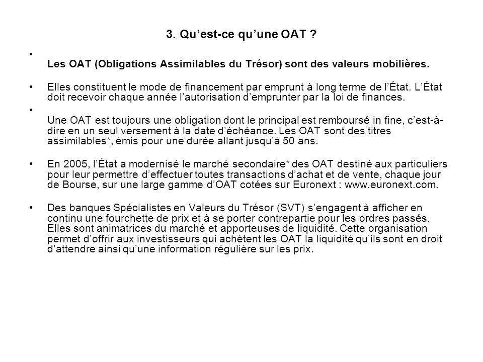 3. Qu'est-ce qu'une OAT Les OAT (Obligations Assimilables du Trésor) sont des valeurs mobilières.