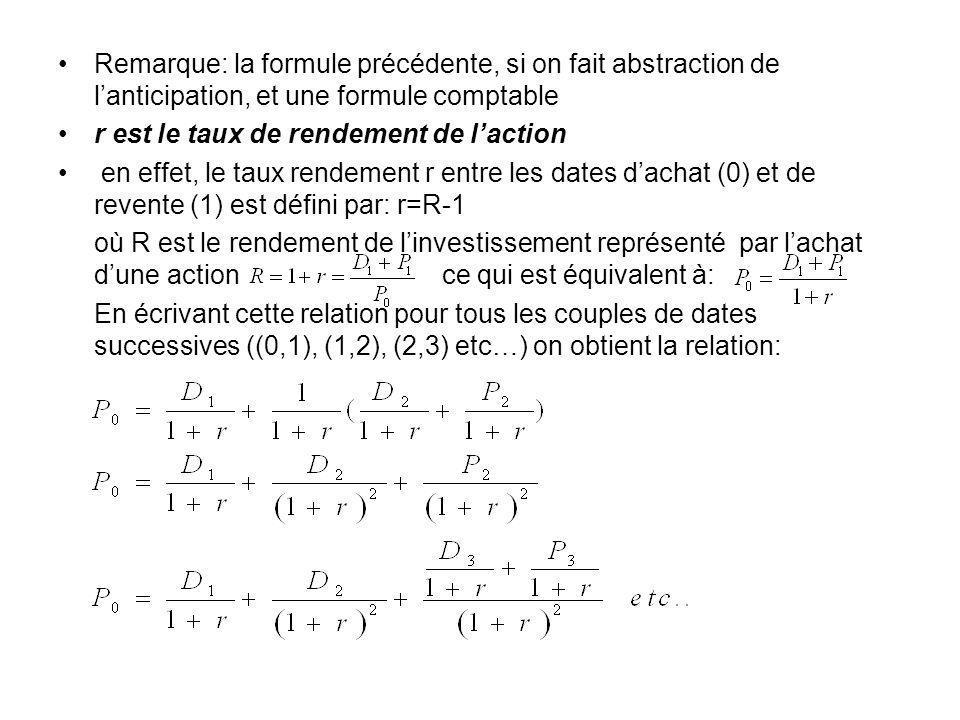 Remarque: la formule précédente, si on fait abstraction de l'anticipation, et une formule comptable