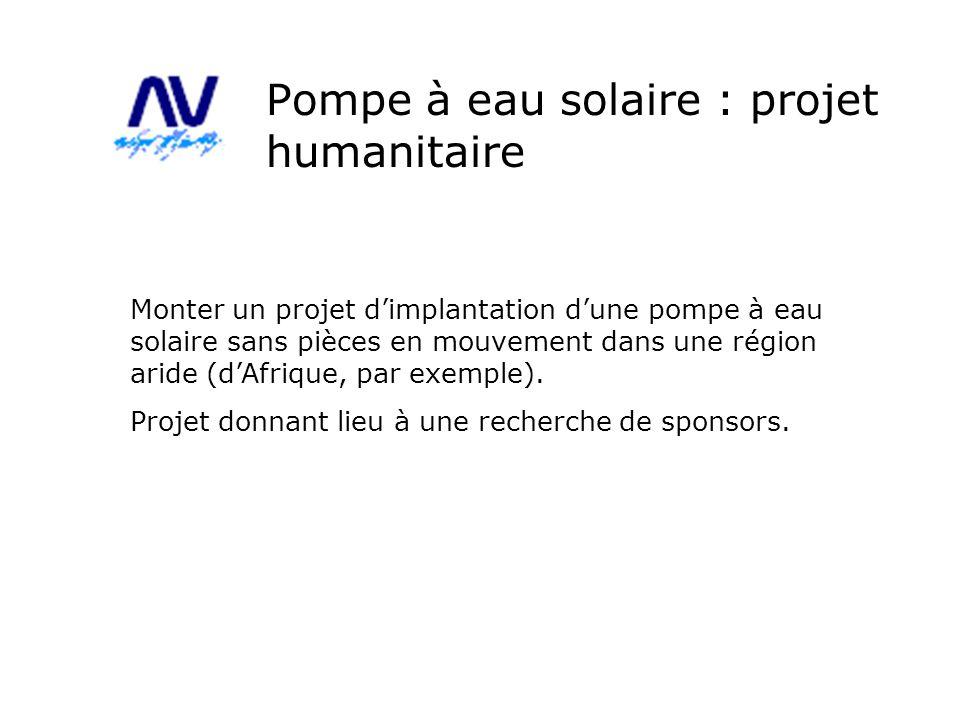 Pompe à eau solaire : projet humanitaire