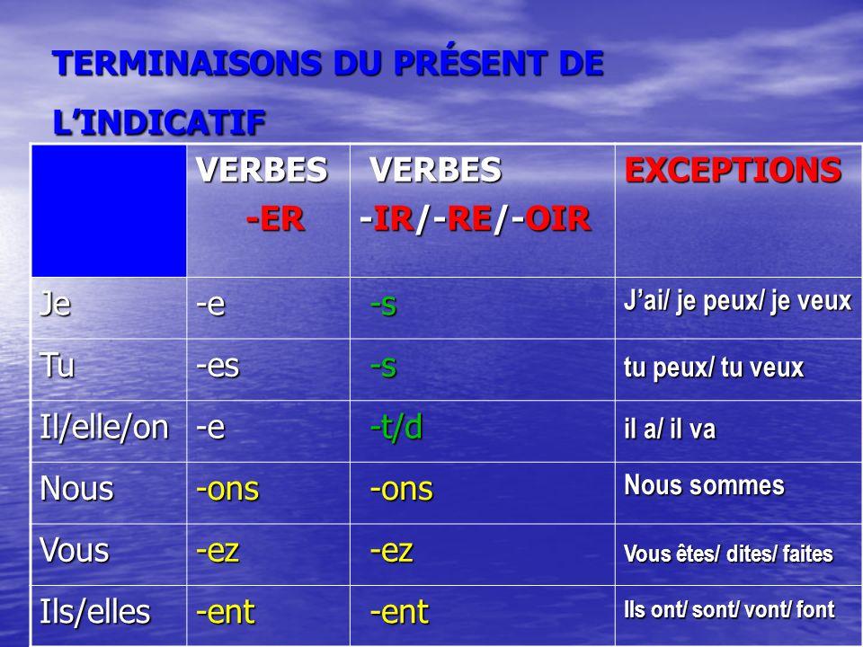 TERMINAISONS DU PRÉSENT DE L'INDICATIF