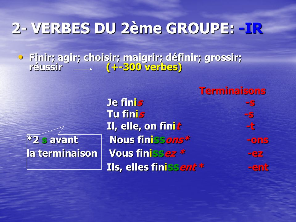 2- VERBES DU 2ème GROUPE: -IR