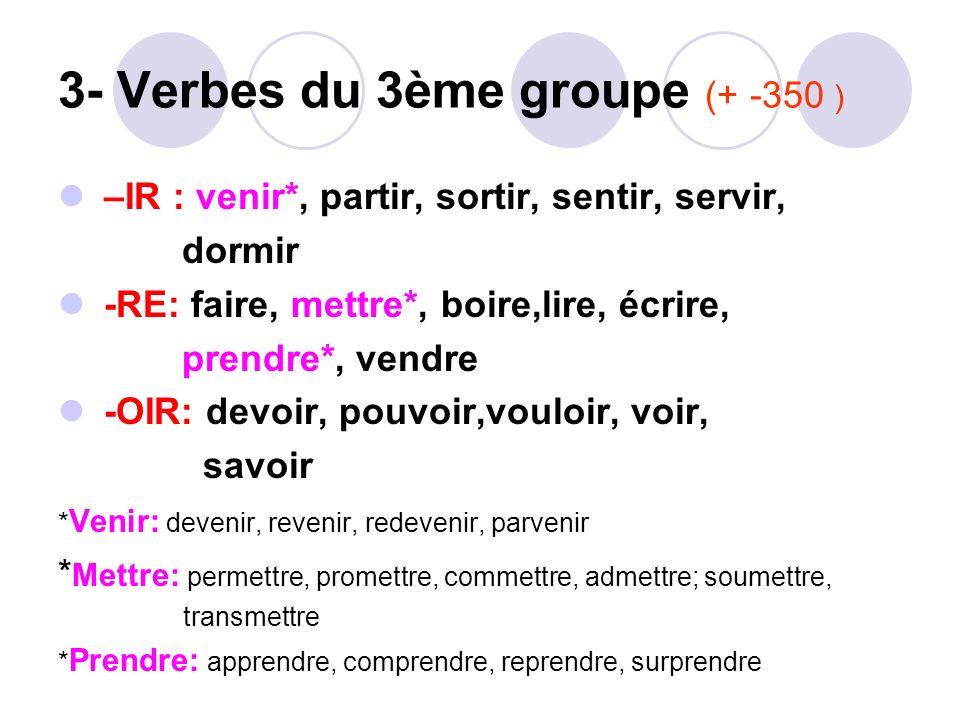 3- Verbes du 3ème groupe (+ -350 )