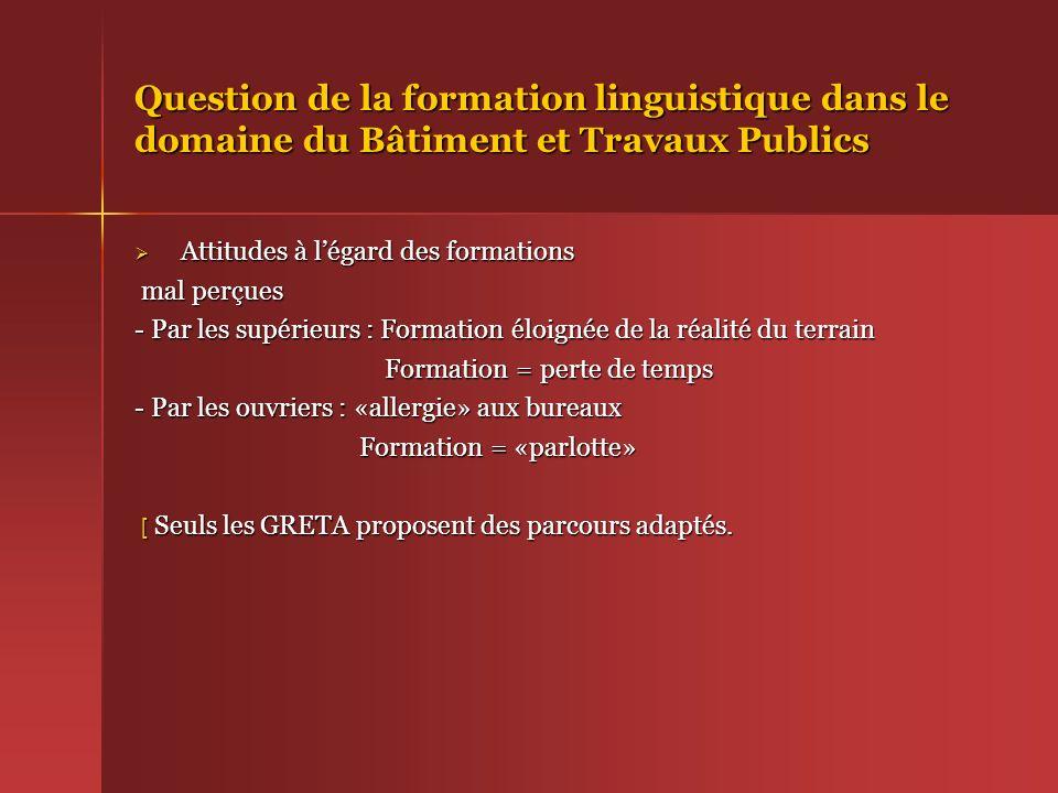 Question de la formation linguistique dans le domaine du Bâtiment et Travaux Publics