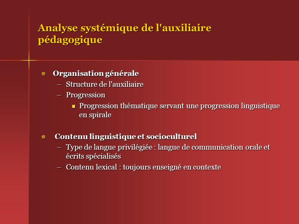 Analyse systémique de l auxiliaire pédagogique