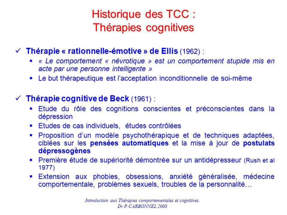 Historique des TCC : Thérapies cognitives