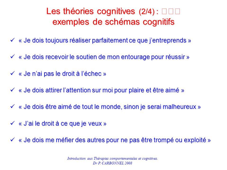Les théories cognitives (2/4) :  exemples de schémas cognitifs