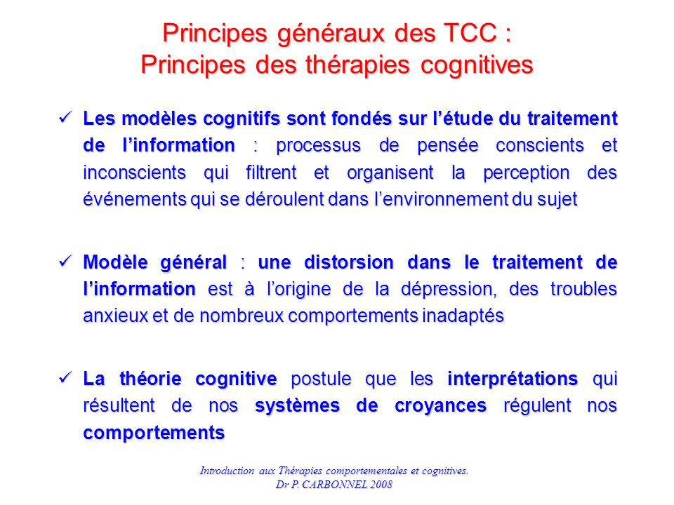 Principes généraux des TCC : Principes des thérapies cognitives
