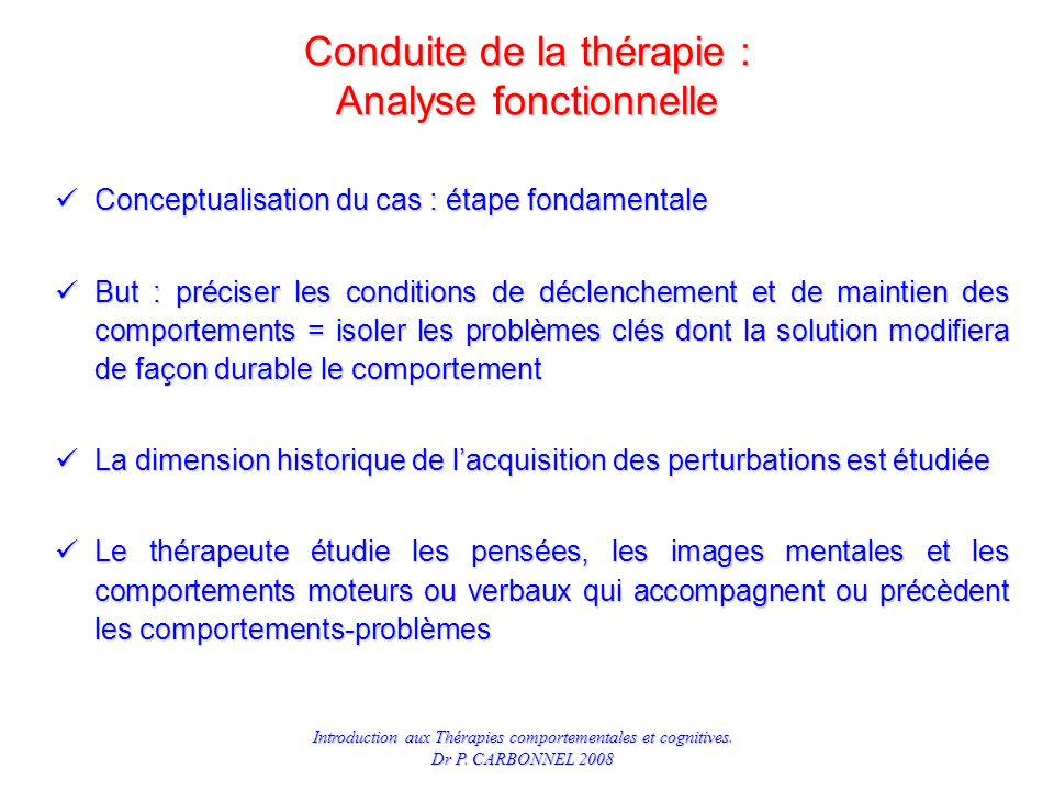 Conduite de la thérapie : Analyse fonctionnelle