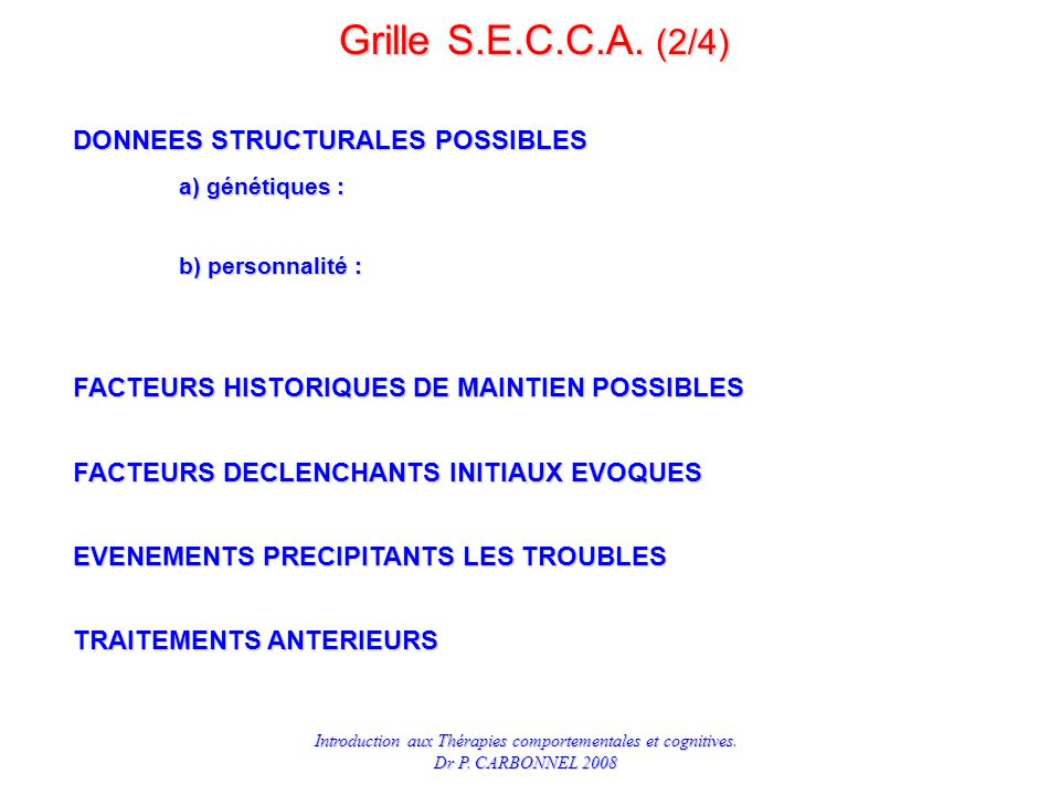 Grille S.E.C.C.A. (2/4) DONNEES STRUCTURALES POSSIBLES a) génétiques :