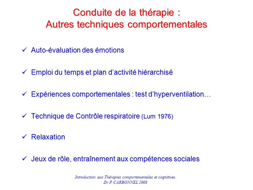Conduite de la thérapie : Autres techniques comportementales