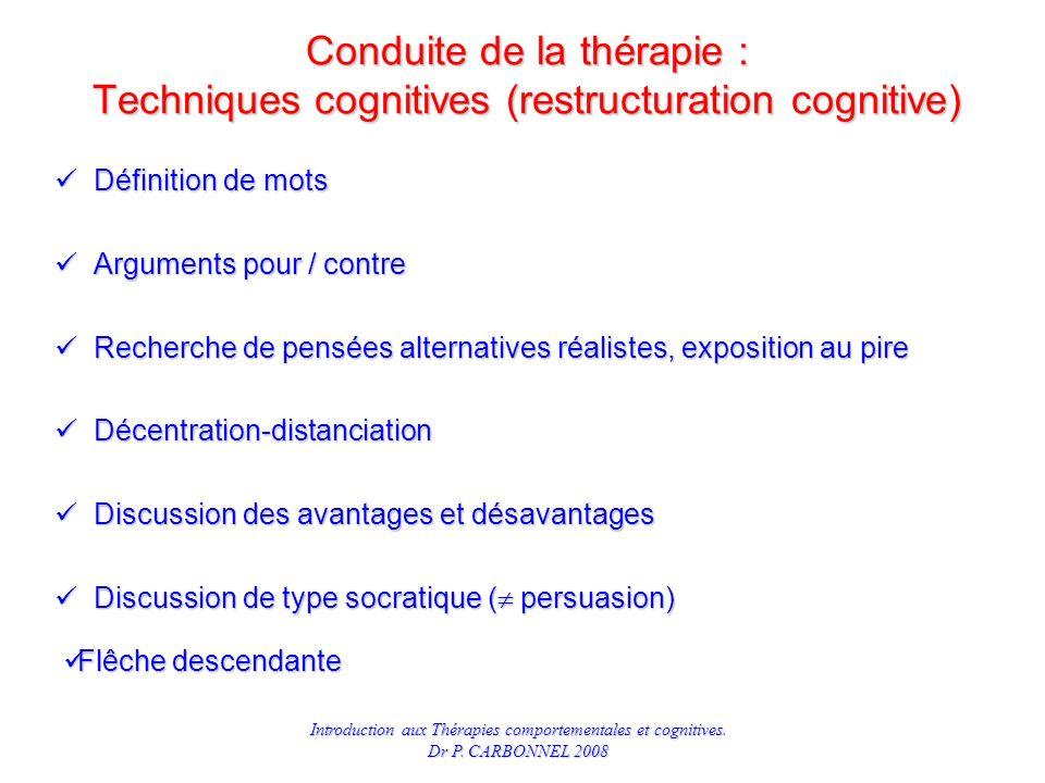 Conduite de la thérapie : Techniques cognitives (restructuration cognitive)