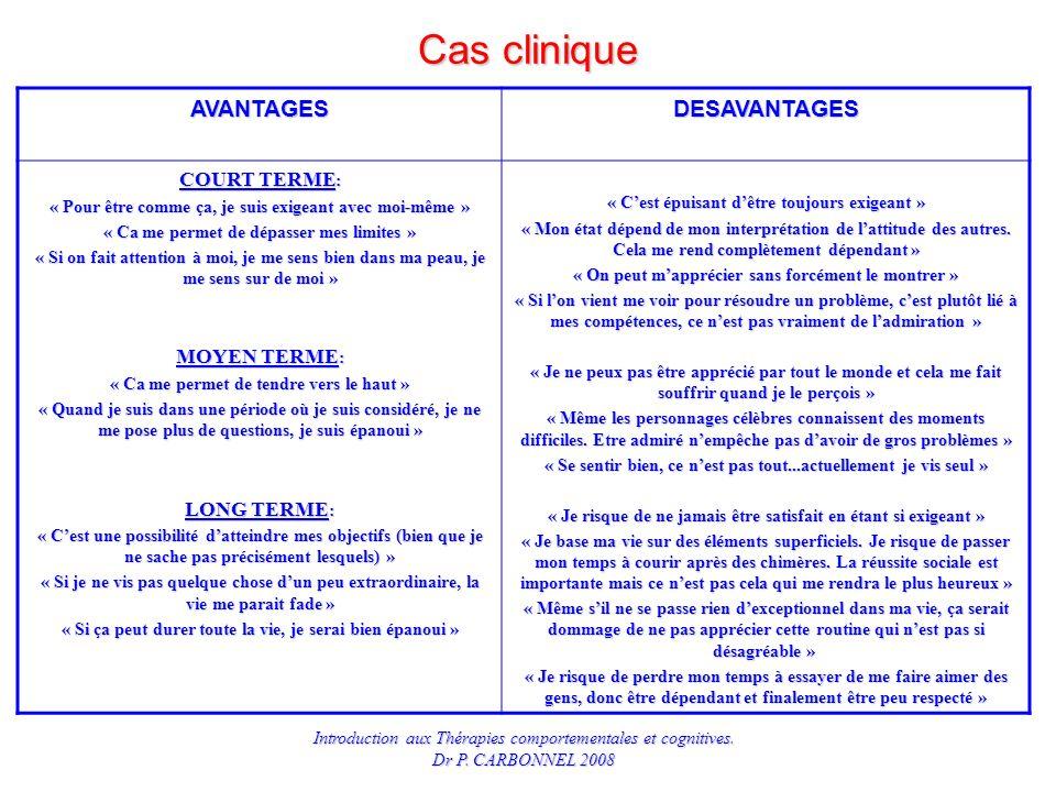 Cas clinique AVANTAGES DESAVANTAGES COURT TERME: MOYEN TERME: