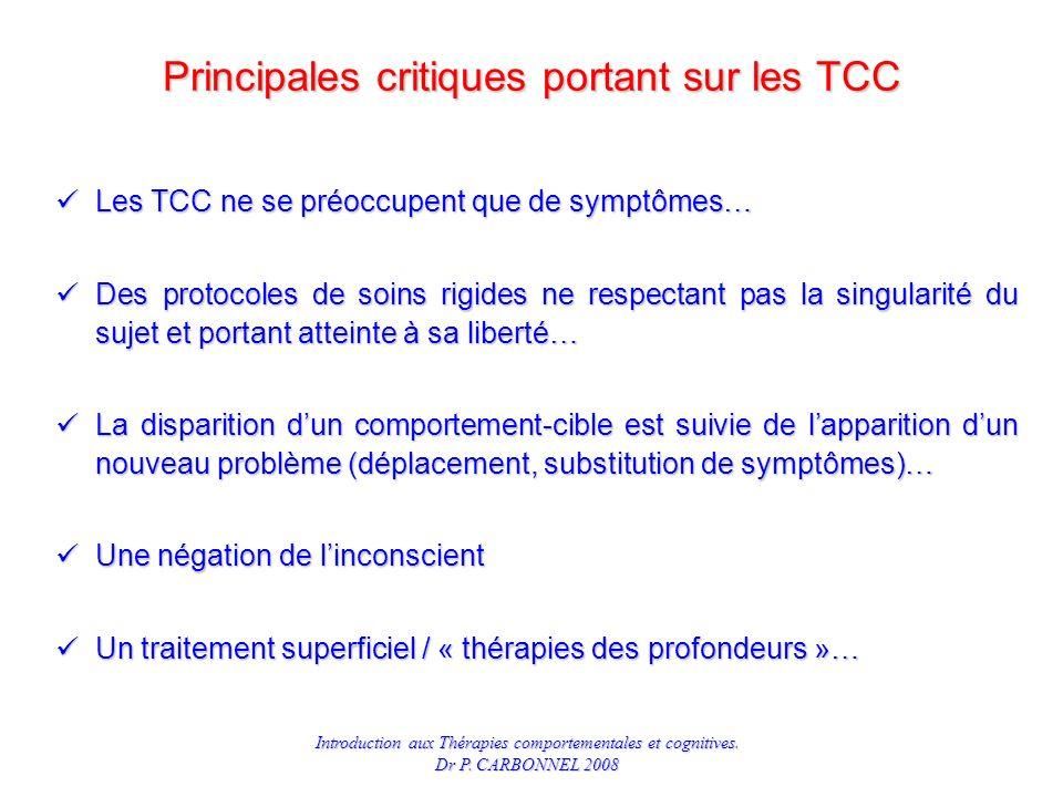 Principales critiques portant sur les TCC